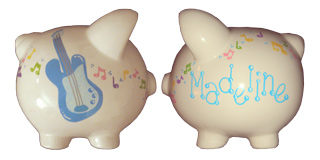 Handpainted ceramic piggy bank - side view - Music theme