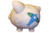 Handpainted ceramic piggy bank - side view - Airplane theme