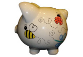 Handpainted ceramic piggy bank - side view - cute bugs theme