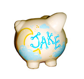 Handpainted ceramic piggy bank - side view - Jake & clouds theme