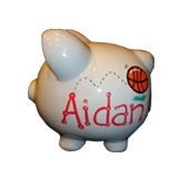 Handpainted ceramic piggy bank - name side view - Sports theme