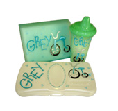 Handpainted toddler gifts, baby gifts, sippy cups, photo albums, wipes holders - bicycle theme